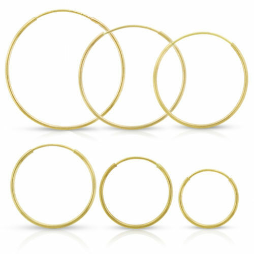 14k Yellow gold Hoops Continuous Endless Hoop Earrings 1.25mm Wide ALL SIZES