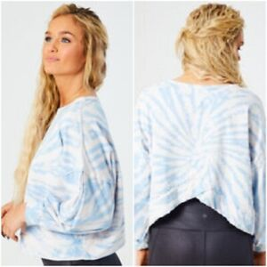 Altar'd State Womens Sz M Haven Tie Dye Top Cropped Heavy Cotton Balloon Sleeve