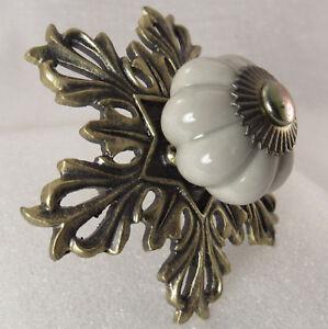 Vintage Brass Copper Flower Drawer Pull Knob Handle Dresser Cabinet Victorian