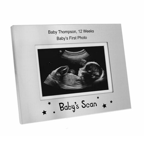 Personalised Baby Scan Photo Frame.5 x 3 Silver Frame Baby Surprise Gift