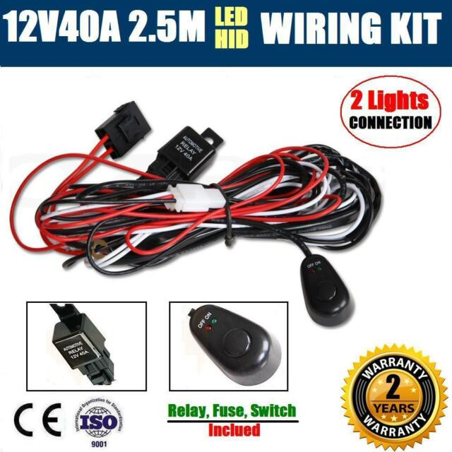 led hid wiring loom harness kit driving work light bar auto 12v 40a12v40a hid led wiring kit driving work light bar auto loom harness switch relay