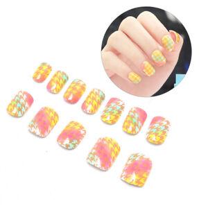 24pcs-Yellow-False-Nails-Art-Acrylic-Full-Cover-Tips-Manicure-Gl-P