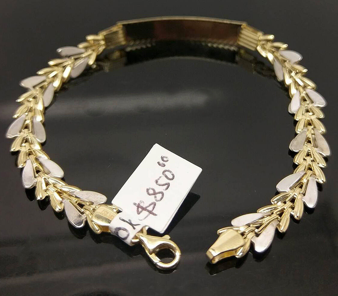 10K Yellow White gold Diamond Cuts Texture ID Bracelet 8  Two Tones For Women's