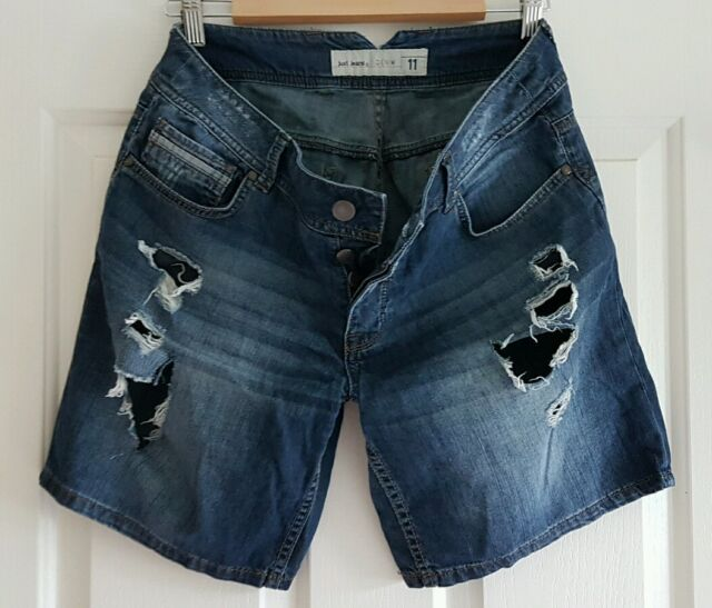 11e228a514 Ladies Size 11 Button Fly Ripped Denim Shorts -just Jeans | eBay