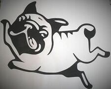 Black Vinyl Wall Art / Car Vehicle Sticker PUG DOG 12.1cm wide x 10cm tall
