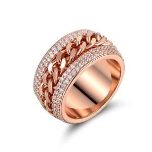 fcd28a16af259 Details about 18K Gold Plated Rose Gold and Swarovski Elements Link Ring