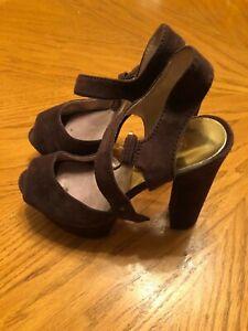 Michael-Kors-Women-s-Suede-Heels-Dark-Brown-Size-6M