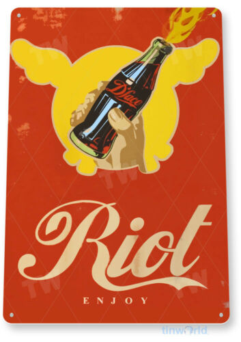 TIN SIGN Dface Soda Riot Retro Sign Drink Coke Shop Store Kitchen Bar A051