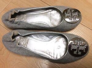 e3d52ffd5b1 Tory Burch Reva Gray Felt Silver Leather Lining Silver Logo Ballet ...