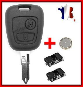 Plip-Coque-Cle-Pour-Peugeot-106-206-206-206CC-306-107-207-307-2-Switchs-Pile