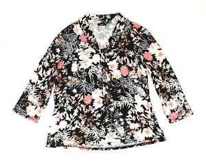 M-amp-Co-Black-Floral-Cotton-Blend-Womens-Blouse-Size-16-Regular