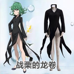 Hot! One Punch Man Tatsumaki Black Dress Anime Cosplay Costume Unisex Halloween