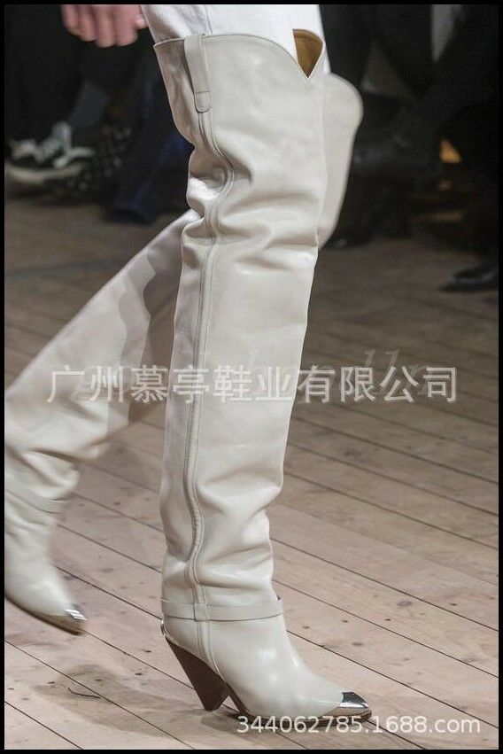 Occident Femmes Cuir Métal bout pointu et sur bottes hautes Piste Cowboy Chaussures