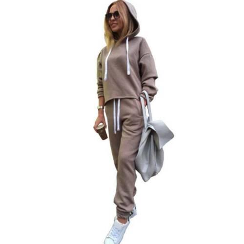 2Pcs Womens Tracksuit Hoodie Sets Sportswear Athletic Jogging Running Sweatshirt