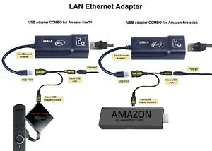 LAN Ethernet Adapter for AMAZON FIRE TV 3 or STICK GEN 2 or 2 STOP THE BUFFERING