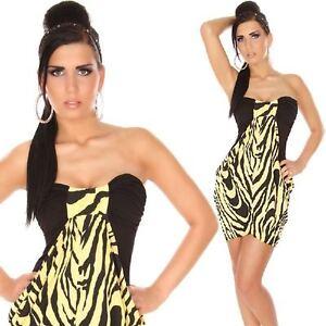 info for 752c8 4af21 Dettagli su SEXY abito VESTITO zebrato elasticizzato NERO/GIALLO taglia S/M  fashion GLAMOUR