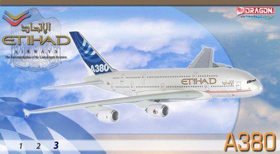 Dragon Etihad Airways Airways Airways A380-800 1 400 Diecast Model with Stand and Gears 248910