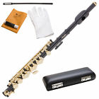 MENDINI BLACK NICKEL PLATED WITH GOLD KEY C PICCOLO PLUS CASE
