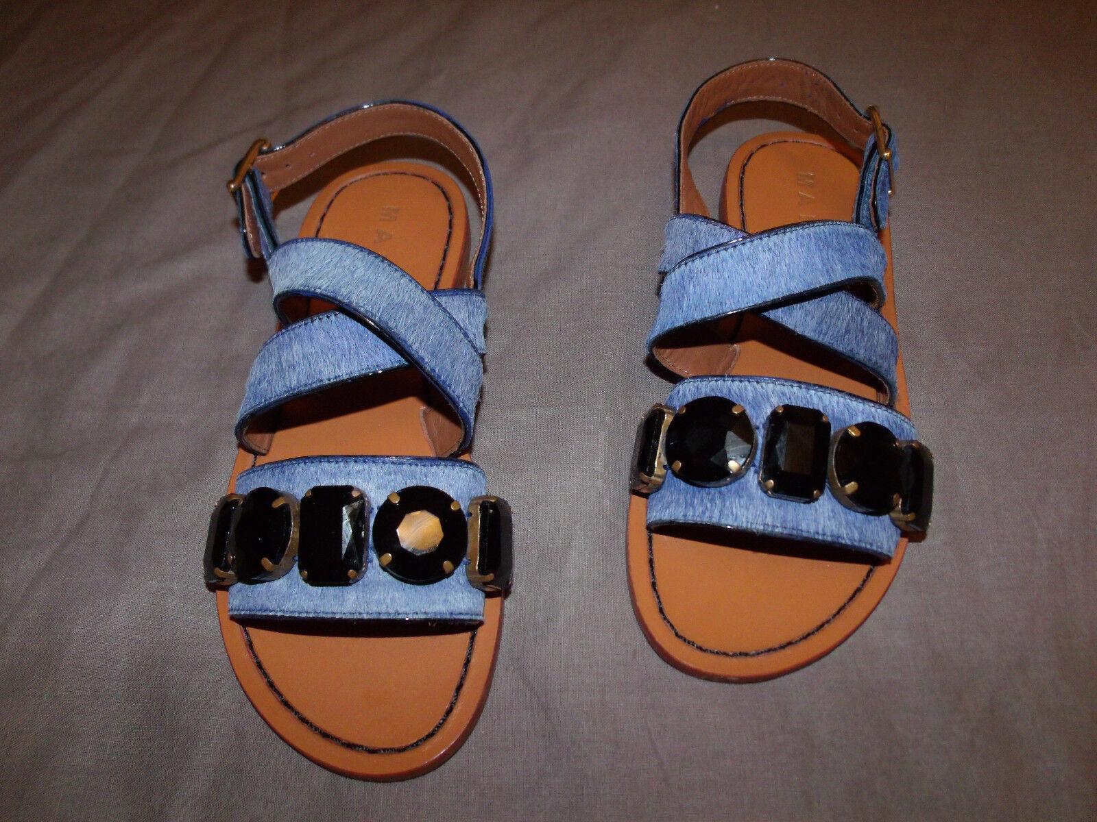 Marni pelo de cuero de becerro azul talla.4.5 Enjoyado Charol Sandalia plana Zapato, Nuevo