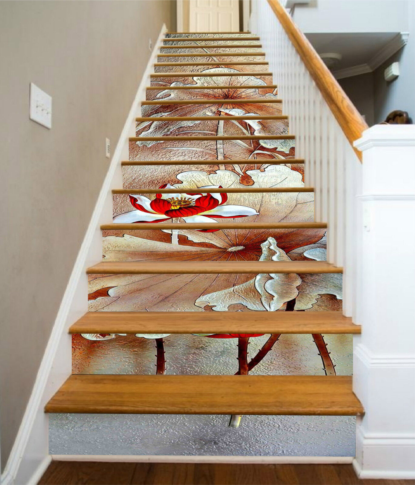 3D Lotos Muster 337 Stair Risers Dekoration Fototapete Vinyl Aufkleber Tapete DE