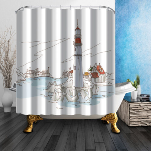 Hand-painted lighthouse and house Shower Curtain Waterproof Polyester /& Bath Mat