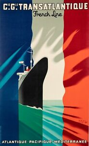 Affiche-Originale-Paul-Colin-Cie-Gle-Transatlantique-French-Line-1952