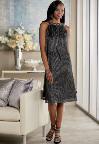 size small Sofia Silver Black Metallic Beaded Dress by Ashro new