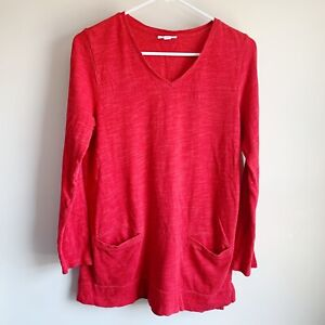 J-Jill-Red-V-neck-Pocket-Long-Sleeve-Tunic-Blouse-Sweater-Top-Size-Small