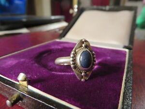 Schmaler-925-Silber-Ring-Solitaer-Blau-Stumpf-Verzierung-Kugelig-Romantisch-Toll