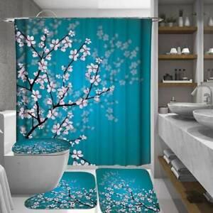 Plum Shower Curtains Bathroom Curtain Toilet Mat Set Home Bathroom SL