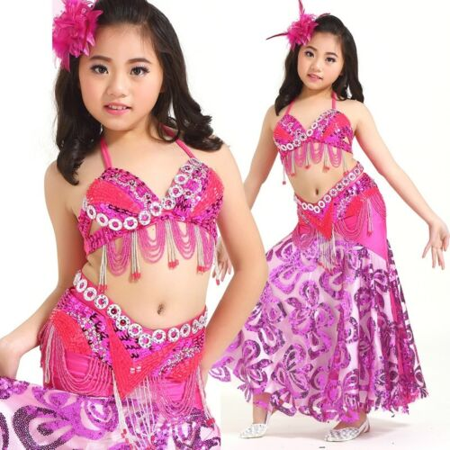 Kid/'s Professional Belly Dance Costumes Performance Stage Outfits Dancewear #828