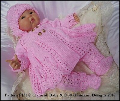 "BABYDOLL HANDKNIT DESIGNS KNITTING PATTERN F121 COAT SET 16-22/"" DOLL 0-3M BABY"