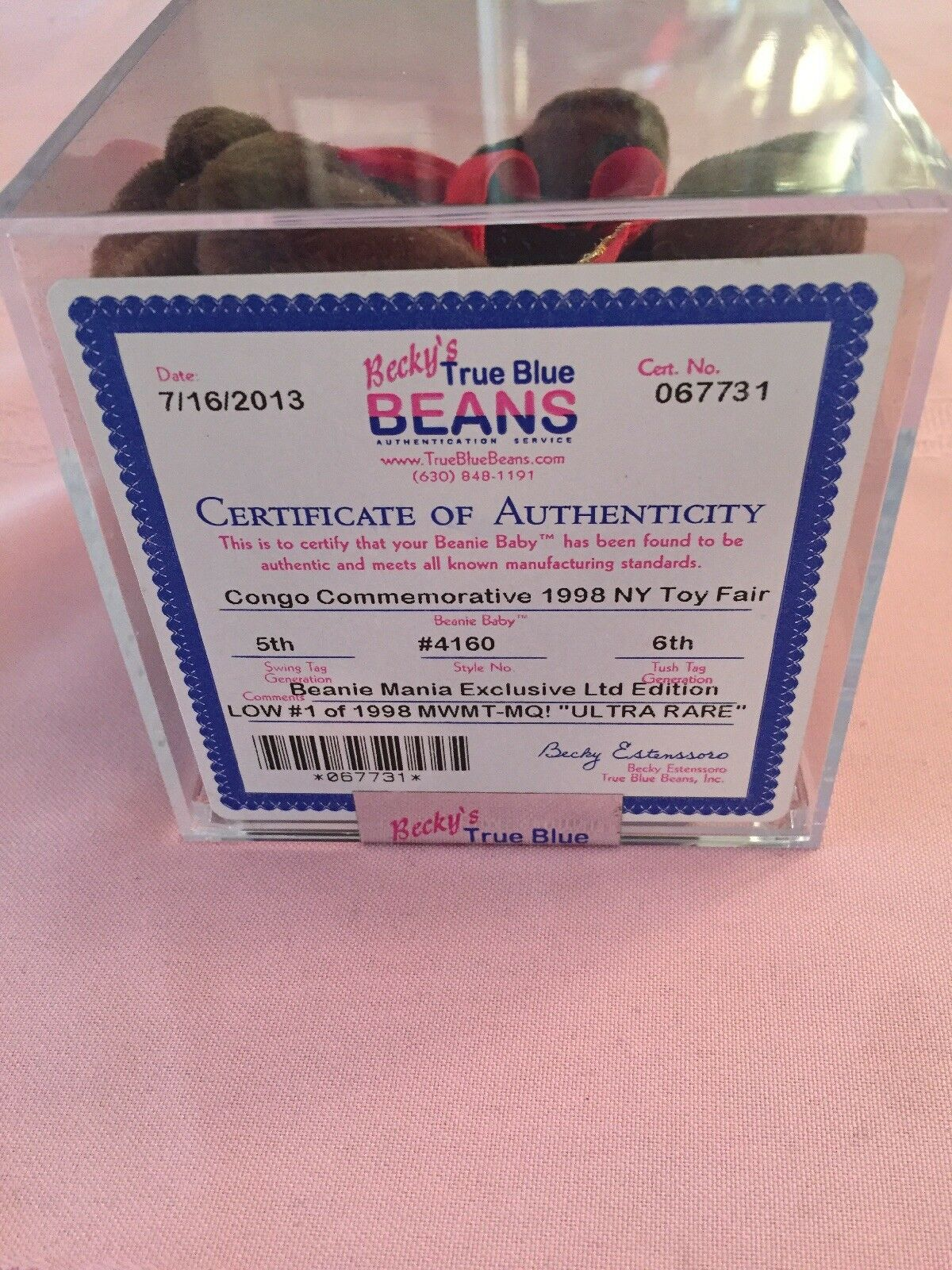 Beanie babies number one RARE Congo NYC Trade toy toy toy show number 1 of 1998 ... b945b5