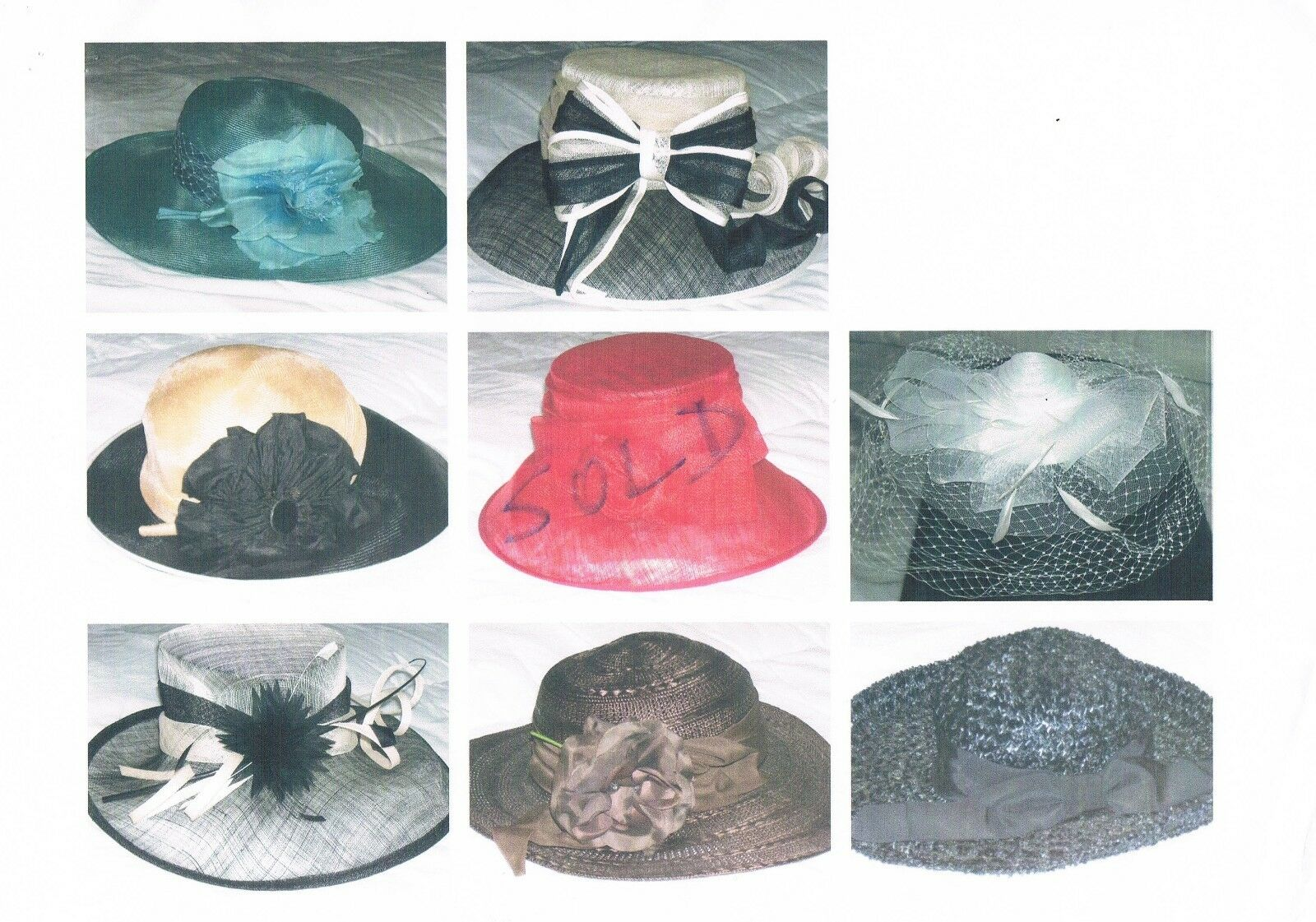 Ladies Church/ Ascot/ Wedding Hats   Worn once only. Not branded.