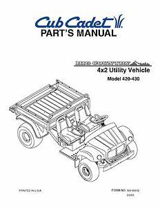 cub cadet big country 4x2 utility vehicle parts manual no 420 430. Black Bedroom Furniture Sets. Home Design Ideas