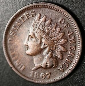 1867-INDIAN-HEAD-CENT-With-LIBERTY-VF-VERY-FINE