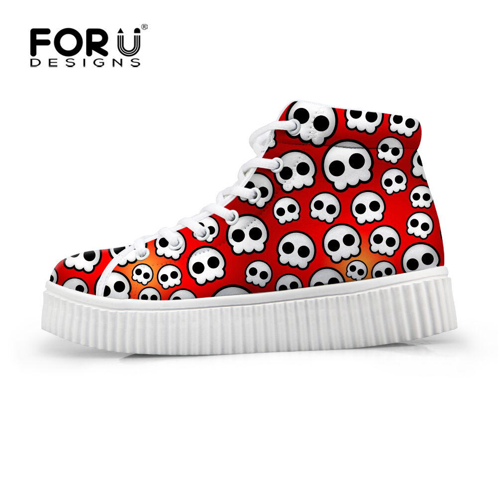 High Top Shoes Casual Shoes Cute Skull Print Platform Shoes Top Breathable Women Sneakers ee33b2