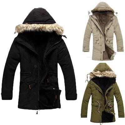 Men's Hooded Parka Thicken Fur Collar Winter Warm Coat Outwear Jacket Overcoat