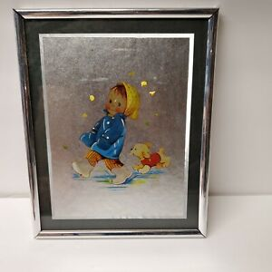 Girl Walking in the Rain with Dog Foil Art Print Framed Mabel Lucie Attwell