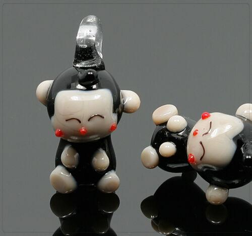 1x vidrio Lampwork colgante Charm joyas bricolaje DIY mono animal 18x19mm mu614