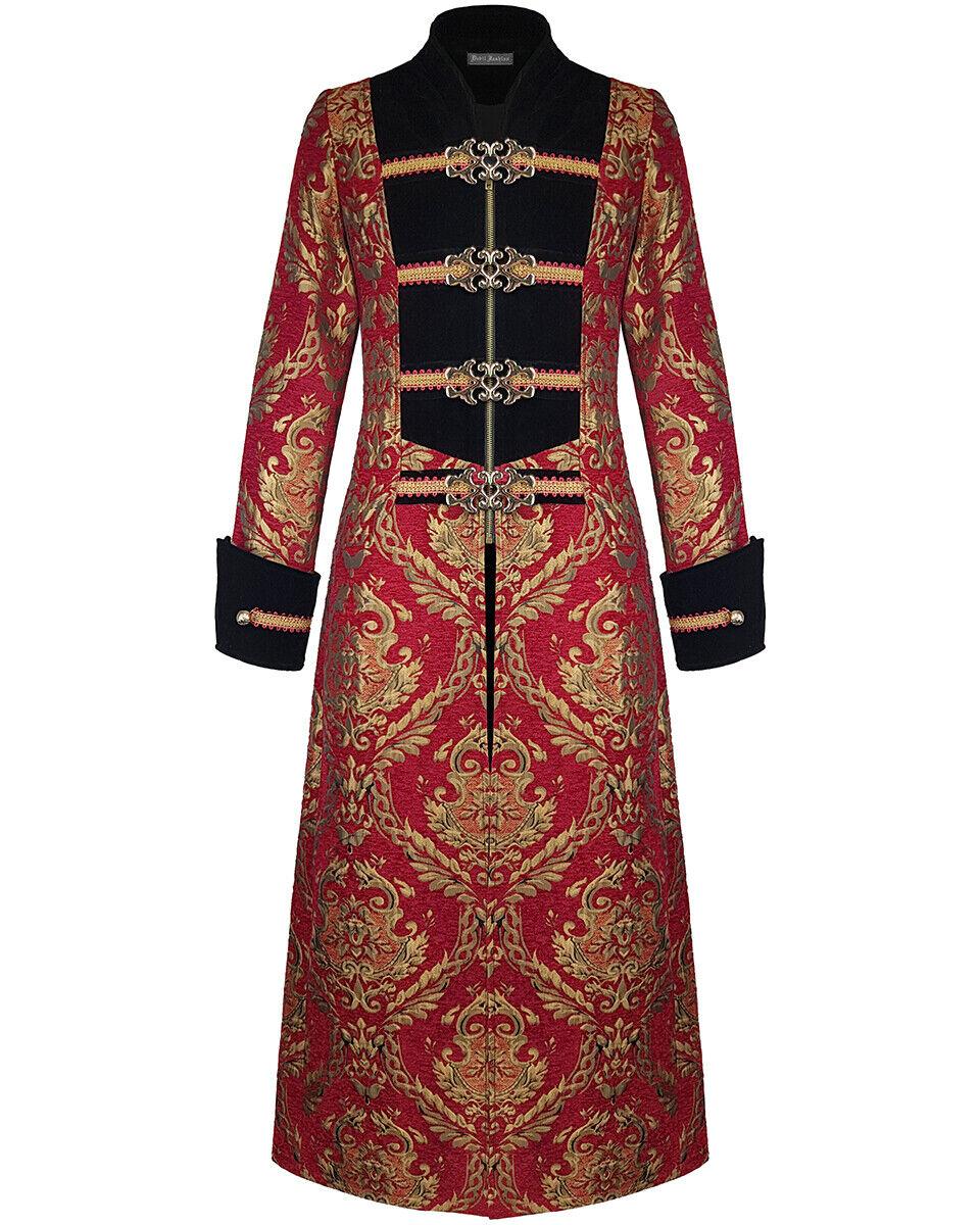 Devil Fashion Mens Long Steampunk Coat Jacket Red Gold Damask Gothic VTG Regency