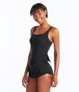 46ddbc5c3bca9 Image is loading L-L-Bean-Slimming-Swimsuit-Sarong-Tanksuit-Black-Bathing-
