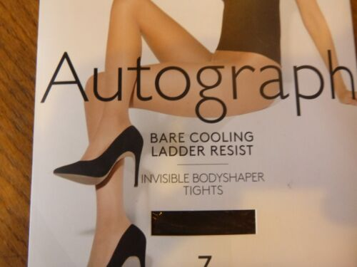 MARKS AND SPENCER 7 DENIER BARE COOLING INVISIBLE SHAPER TIGHTS COCOA SLIMMING