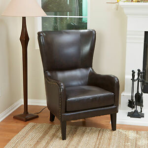 Details About Salerno Brown Leather High Back Wing Chair Lounge Wingback Armchair