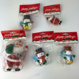 Vintage-Leewards-Christmas-Ornaments-NEW-Lot-of-5-Santa-Snowman-RARE