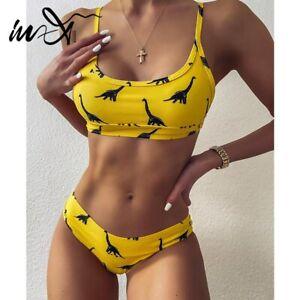 In-X Dinosaur print swimsuit women Sexy bandeau bikinis 2020 woman yellow