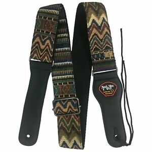 Guitar-Strap-RockYou-S583-Cotton-Leatherette-Ends-Pick-Holder-for-2-Picks-AZTEC