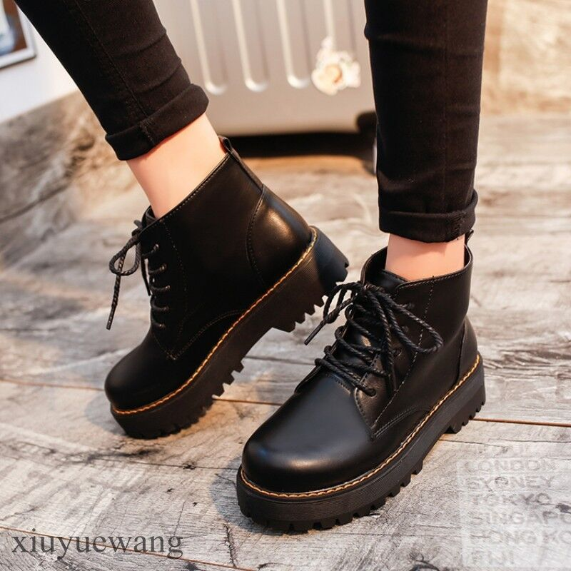 British Style Womens Round toe Punk Lace up Casual shoes Combat Ankle Boots Sz