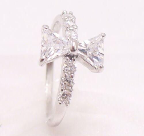 Mujeres Nuevo Placa de Oro Blanco Cubic Zirconia CZ Anillo de boda Navidad Talla K L M N O P