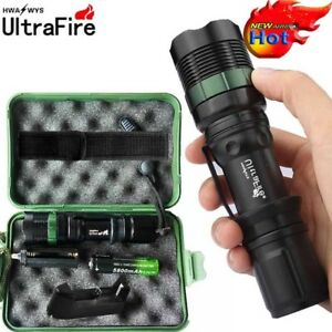 Tactical Zoomable 50000Lumens T6 LED Flashlight Lamp Torch+Battery+Charger+Cases